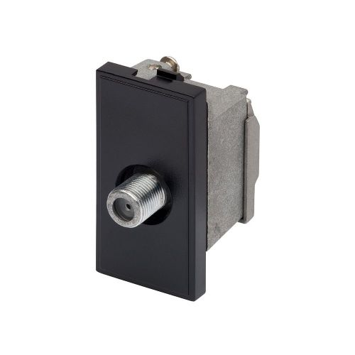 RT Sat F-Connector Outlet  (25mmX50mm) Black 09005